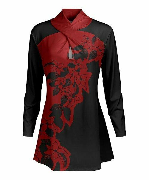 Красно-черная туника с цветочным принтом, Lily