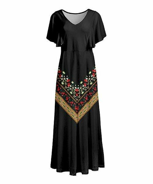 Черно-золотое макси-платье с цветочным узором, Lily