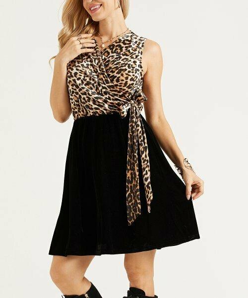 Коричнево-черное контрастное платье без рукавов с леопардовым принтом, Suzanne Betro Dresses