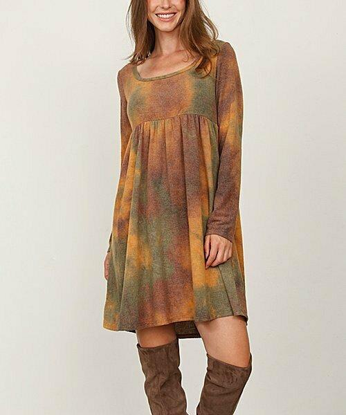 Платье горчичного цвета с длинными рукавами с завышенной талией, egs by éloges
