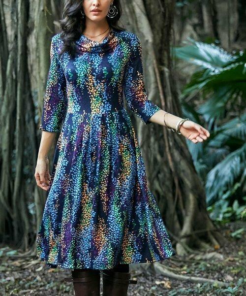 Темно-синее платье миди в горошек, Reborn Collection