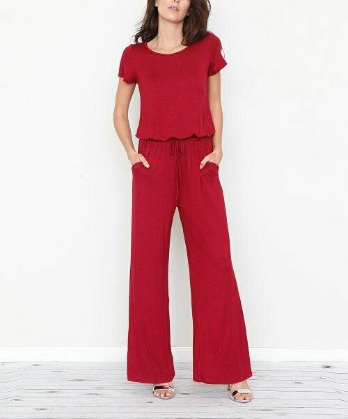 Темно-красный комбинезон с завязками на талии и боковыми карманами, egs by éloges