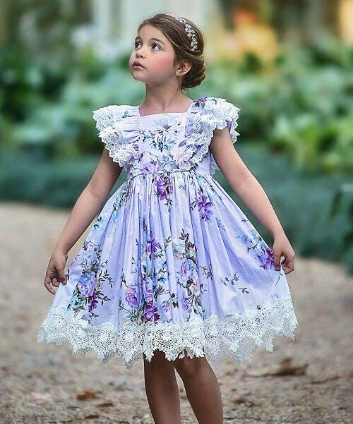 Детское платье Anna с цветочным принтом и кружевной отделкой, Trish Scully Child