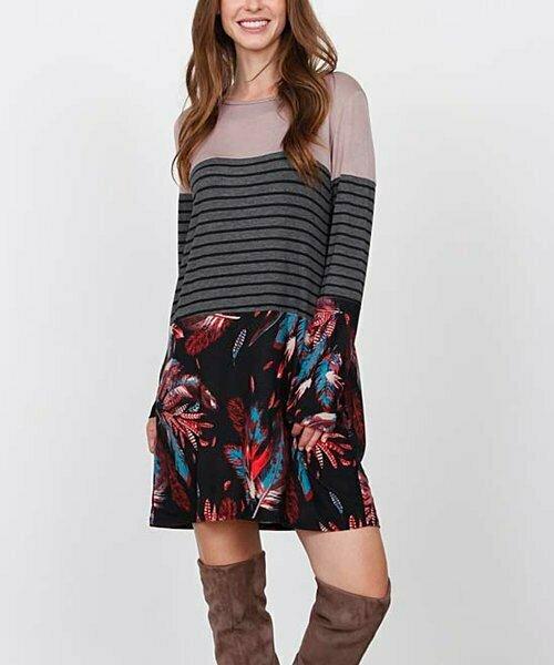 Платье Hi-Low с цветочными блоками в полоску и черным цветом, egs by éloges