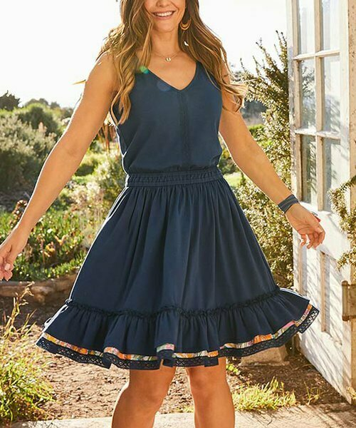 Темно-синее платье Swing Time с V-образным вырезом, Matilda Jane Clothing