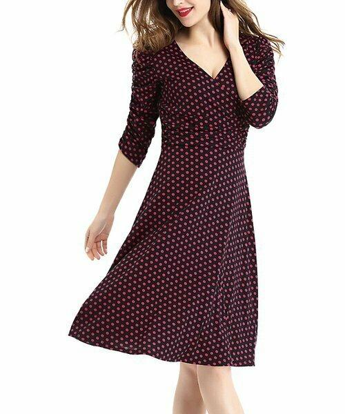 Черно-красное платье трапециевидного силуэта в горошек, Deli.S