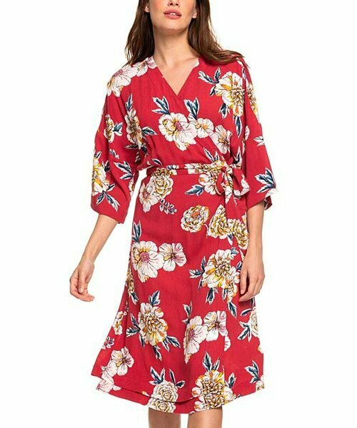 Платье-кимоно Privy Places Deep Claret Peony, Roxy
