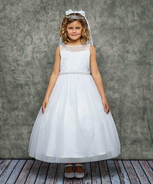 Белое детское платье трапециевидной формы с венецианским кружевом, Kid's Dream