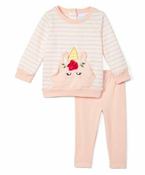 Nannette Kids, Розовый флисовый свитшот в полоску с единорогом и розовые леггинсы