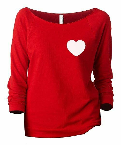 Thread Tank, Красный пуловер с напуском и рукавами три четверти с маленьким сердечком