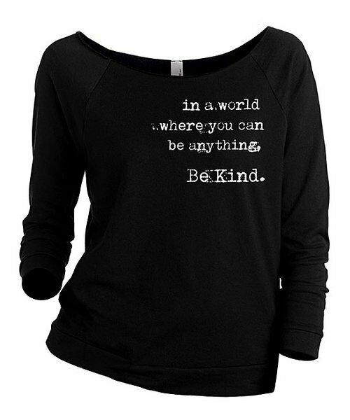 Thread Tank, Черный пуловер с напуском и рукавами три четверти 'Be Kind'