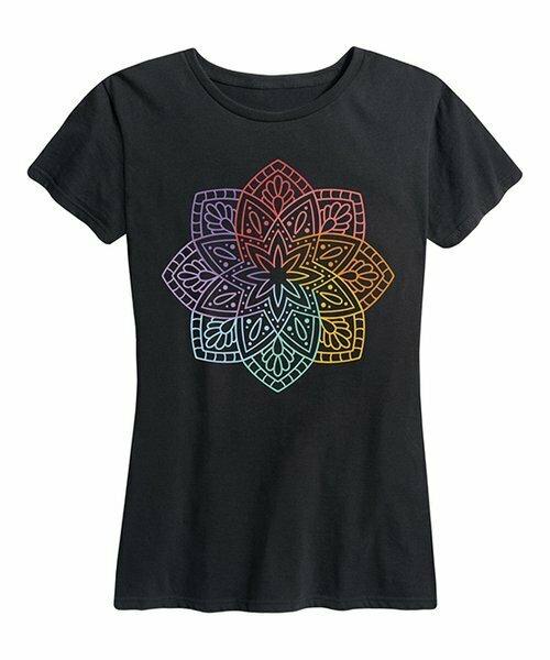 Instant Message Women's, Футболка свободного кроя Black Rainbow Mandala