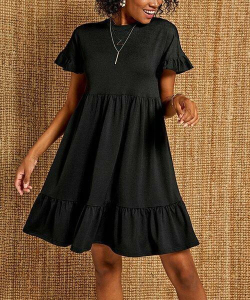 Boutiquen, Черное многоярусное платье-трапеция с рюшами