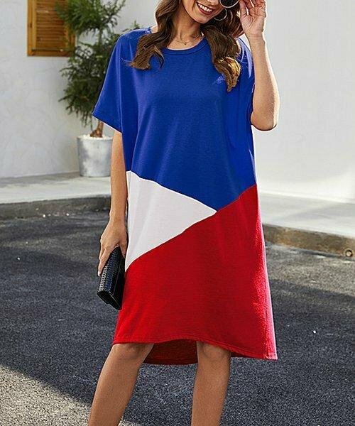 Sucrefas, Сине-красное прямое платье с цветными блоками