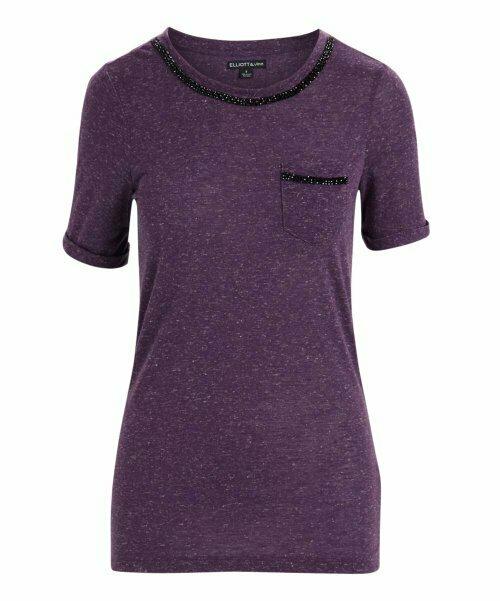 Elliott & Vine, Пурпурный топ с круглым вырезом с карманами и стразами
