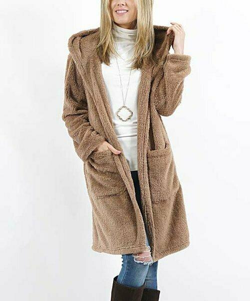 42POPS, Открытое пальто с капюшоном и карманом из искусственного меха цвета мокко