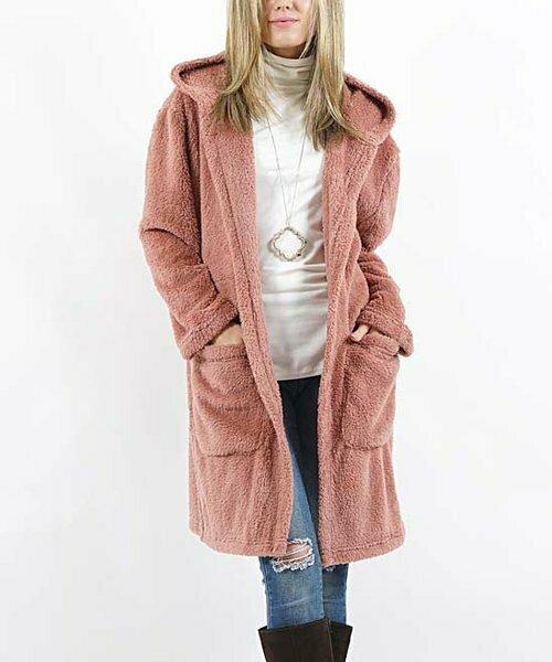 42POPS, Сиреневое открытое пальто с капюшоном и карманом из искусственного меха