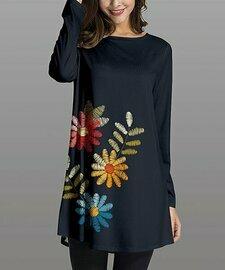 Nanu, Темно-синяя туника с длинным рукавом с цветочным принтом