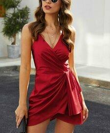 Suvimuga, Красное мини-платье без рукавов с драпировкой Surplice