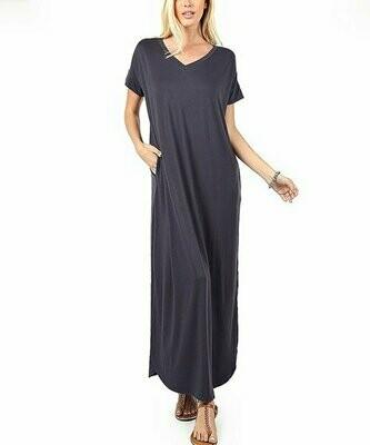 EAG, Пепельно-серое платье с V-образным вырезом и короткими рукавами с закругленным краем и карманами