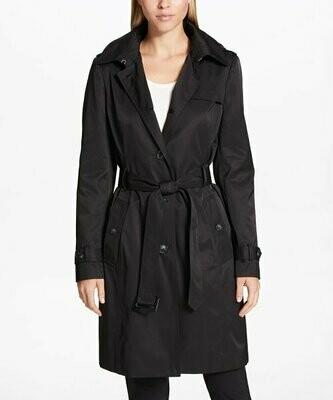 Черный плащ с поясом, DKNY