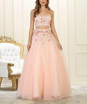 Розовое платье с вырезом без бретелек с цветочным принтом, Royal Queen