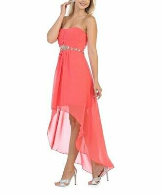 Платье Hi-Low без бретелек с коралловыми стразами, MayQueen