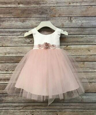 Розовое детское платье с поясом, Precious Kids