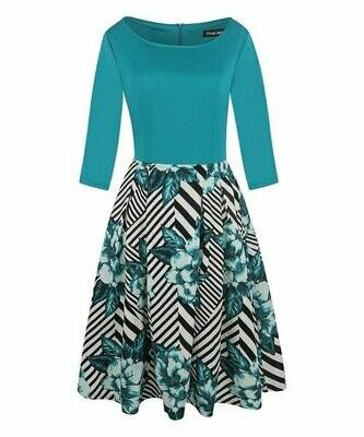 Зеленое платье в диагональную полоску с цветочным принтом, Haute Edition