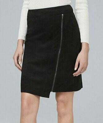 Черная юбка с асимметричным подолом из искусственной замши, White House Black Market