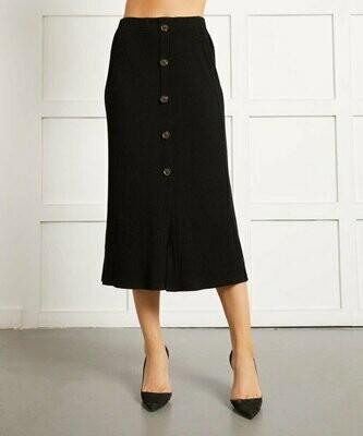 Черная юбка миди с разрезом спереди и пуговицами, Suzanne Betro