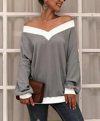 Coeur de Vague, Серо-белый вязаный свитер
