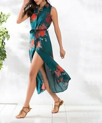 Голубое платье-рубашка без рукавов с цветочным принтом, Milan Kiss