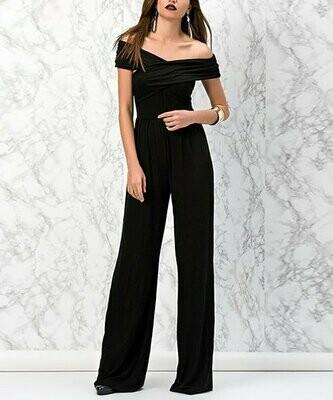 AQE Fashion, Черный комбинезон с открытыми плечами и короткими рукавами Surplice