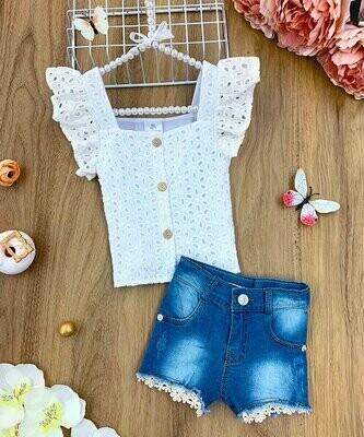 Mia Belle Girls, Белый топ с рукавами ангела с люверсами и джинсовые шорты темного цвета