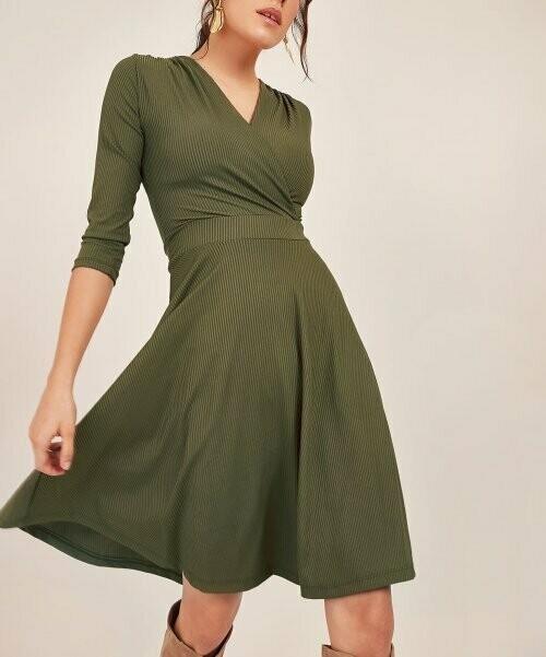 Платье Surplice в рубчик цвета хаки, New Laviva