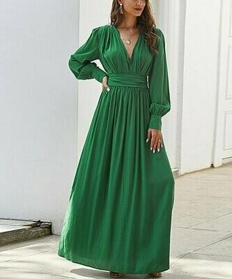 myodress, Зеленое макси-платье с окантовкой на талии