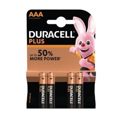 AAA Duracell Power Plus Baterijen 4 stuks