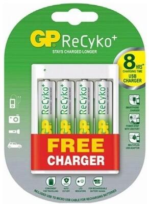 AA GP ReCyko+ Oplaadbare Batterijen 2000mAh 4 stuks + GRATIS USB LADER