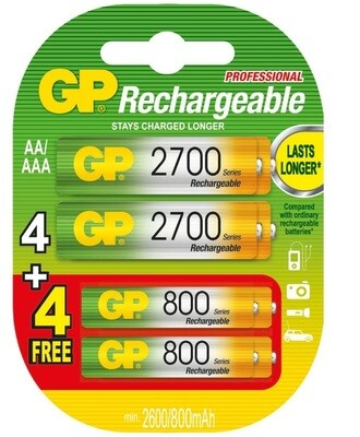 GP CombiPack 4x AA2600 + 4x AAA800mAh Oplaadbare Batterijen