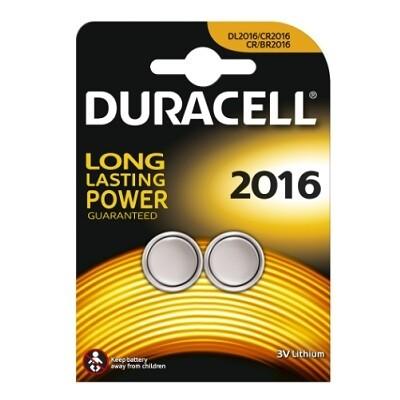 DURACELL 2X KNOOPCEL CR 2016 LITHIUM 3V
