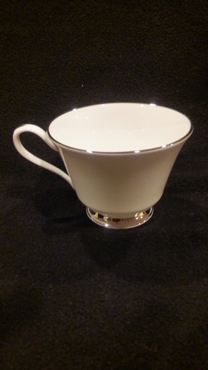 Lenox Oxford Bone China, Footed Coffee Cup, Lexington Pattern, White with Platinum