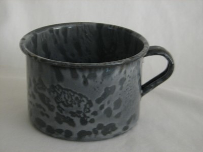 Enamel Ware Grey Mottled Coffee Cup
