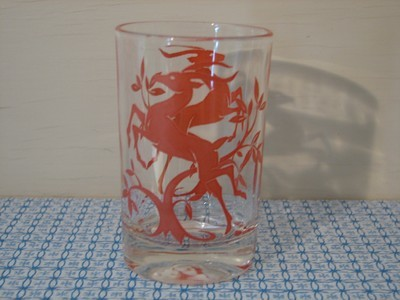 Federal Glass, Juice Glass, Red Leaping Gazelle