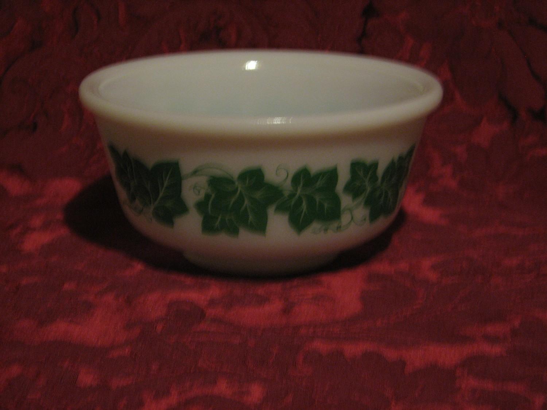 "Hazel Atlas Milk Glass Green Ivy 6"" Bowl"