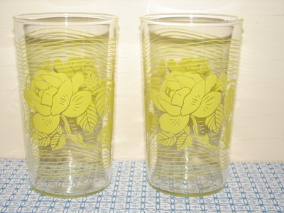 Libbey Glasses, Yellow Rose with wave design