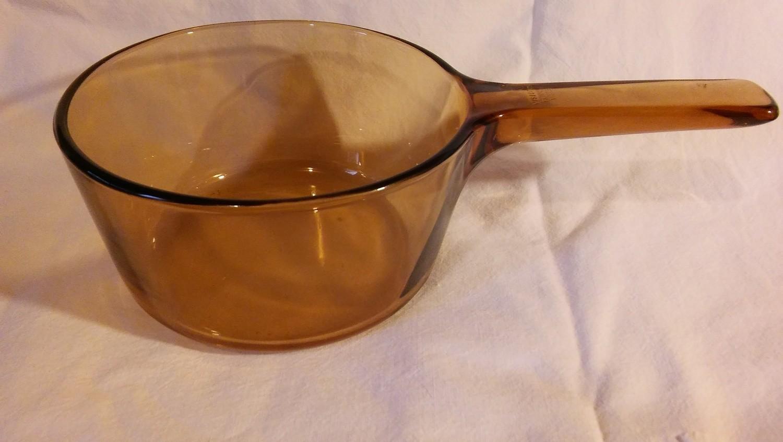 Corning Ware Visions Sauce Pan, 1 Quart (NO LID!) Amber, V-1-B