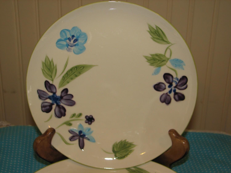 "Kanedai Salad Plate, Violet Pattern, 7.75"" Dia, Japan"