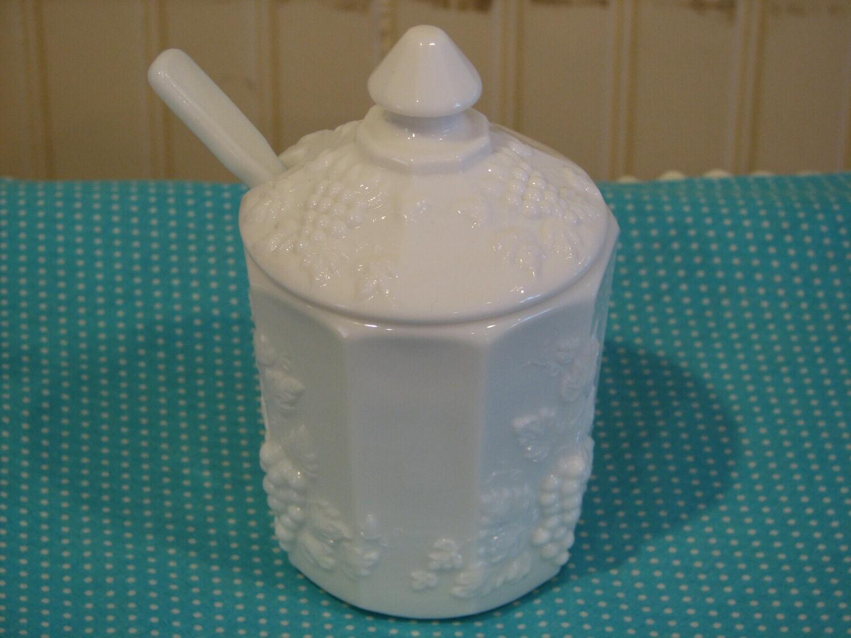 Westmoreland Milk Glass Sugar With Lid & Spoon, Grape Design
