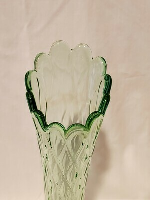 "Jefferson Glass, Swung Vase, 11.5"" H Diamond Oval Thumbprint Green"